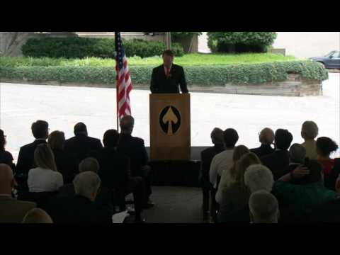 Amb. Daniel Smith speaking at the OSS 75th anniversary ceremony.