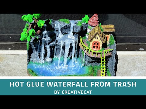 Waterfall Home Decor/Best out of waste/art and craft/Hot Glue Waterfall