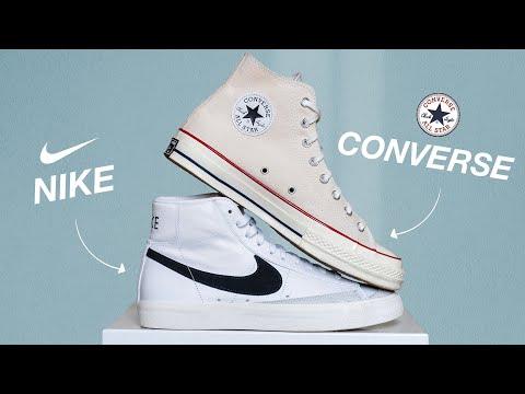 Nike Blazer Mid 77 vs Converse Chuck 70 High Top Sneakers