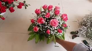 Cắm hoa- Cách cắm Cốc hoa hồng để bàn