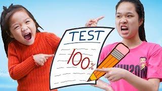Suri Nói Dối Chị Xé Bài Kiểm Tra ❤ Dạy Trẻ Làm Người Tốt - Trang Vlog