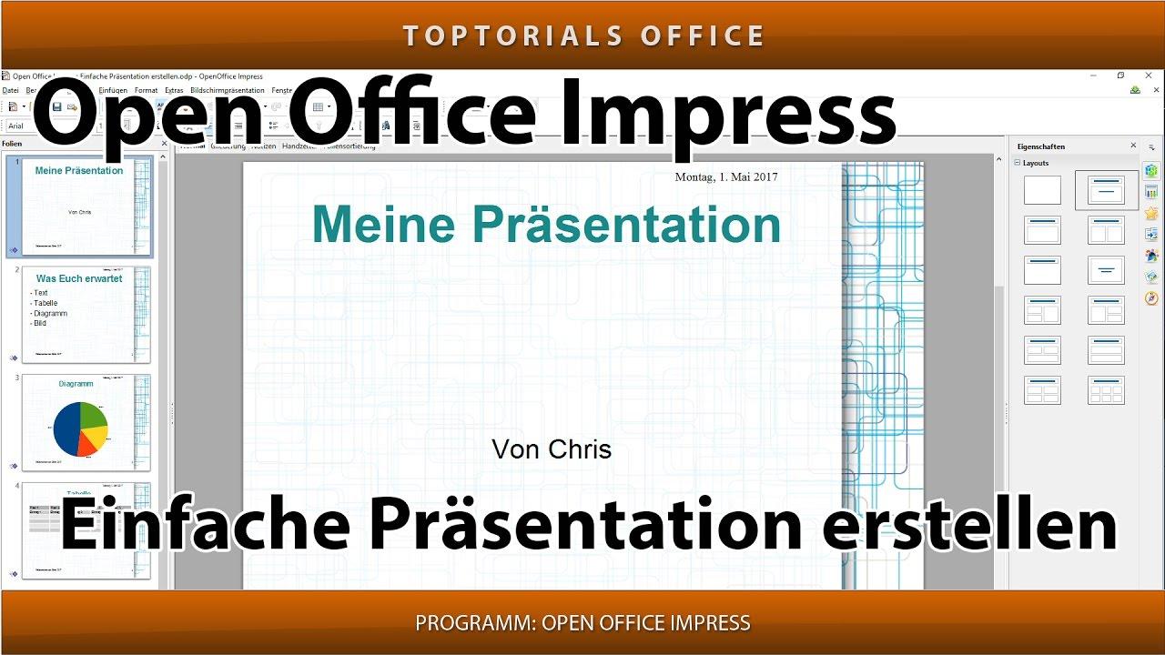 Einfache pr sentation erstellen mit open office impress for Tabelle open office