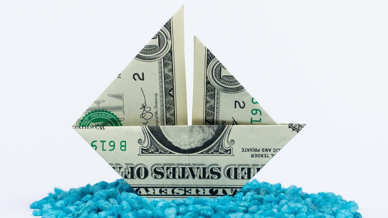 Money Origami Sailing Ship Folding Tutorial With One Dollar Bill Youtube