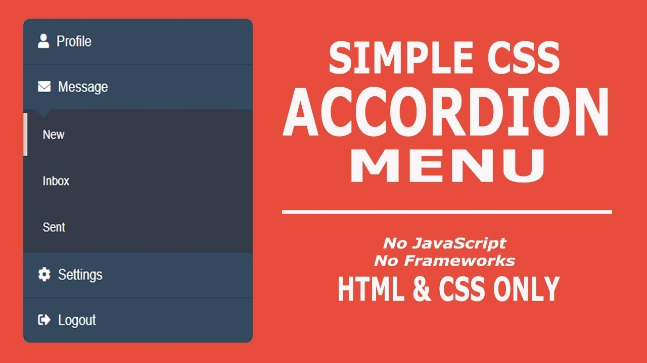 CSS Accordion Menu Without JavaScript - HTML and CSS Only