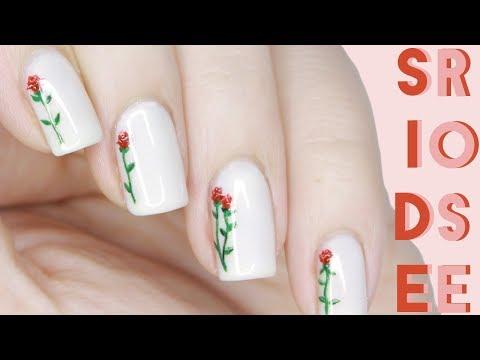 Dainty Side Rose | Valentine's Day Nail Art