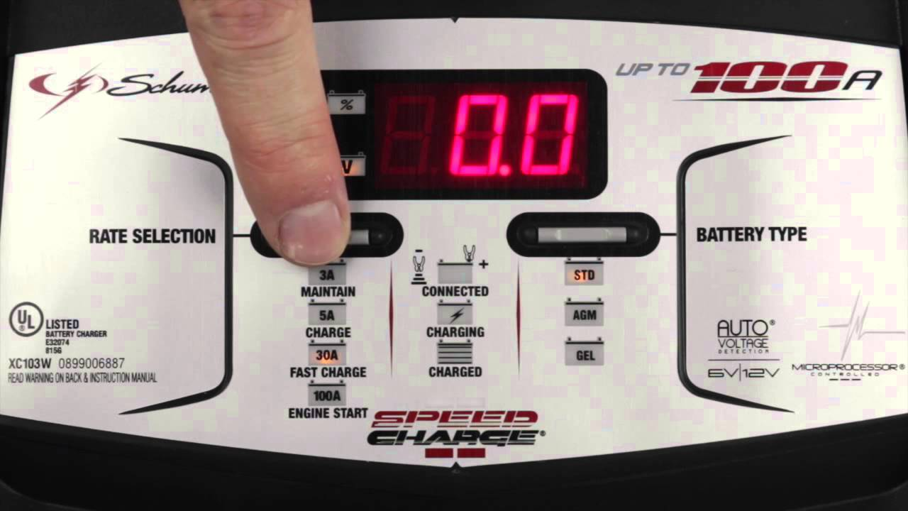 xc103w 100 amp battery charger with engine start from schumacher [ 1280 x 720 Pixel ]