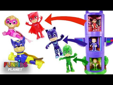 PJ MASKS & Paw Patrol Disney Transforming Tower Costume Changer Owlette Catboy Gekko | Fun Kids Toys