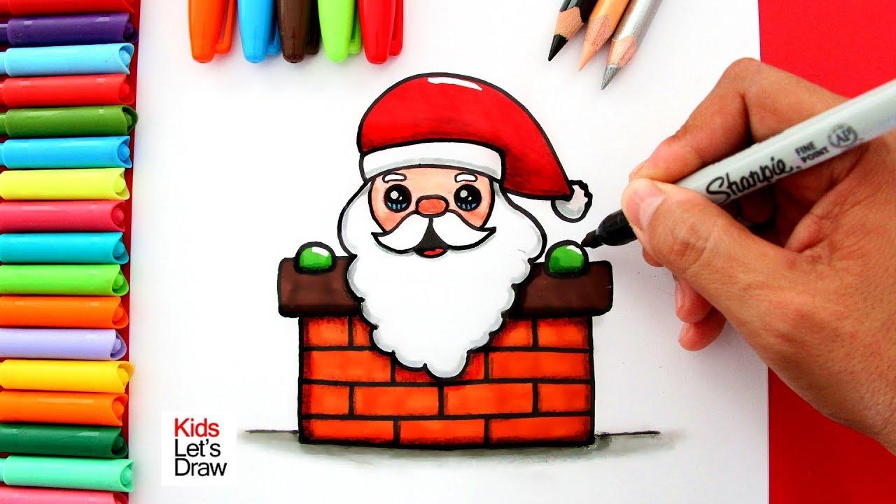 Aprende A Dibujar A Papá Noel Santa Claus Saliendo Por La Chimenea Youtube