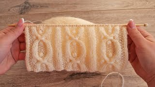 Азиатский узор с шишечками спицами 🌲 Bobble Stitch knit pattern
