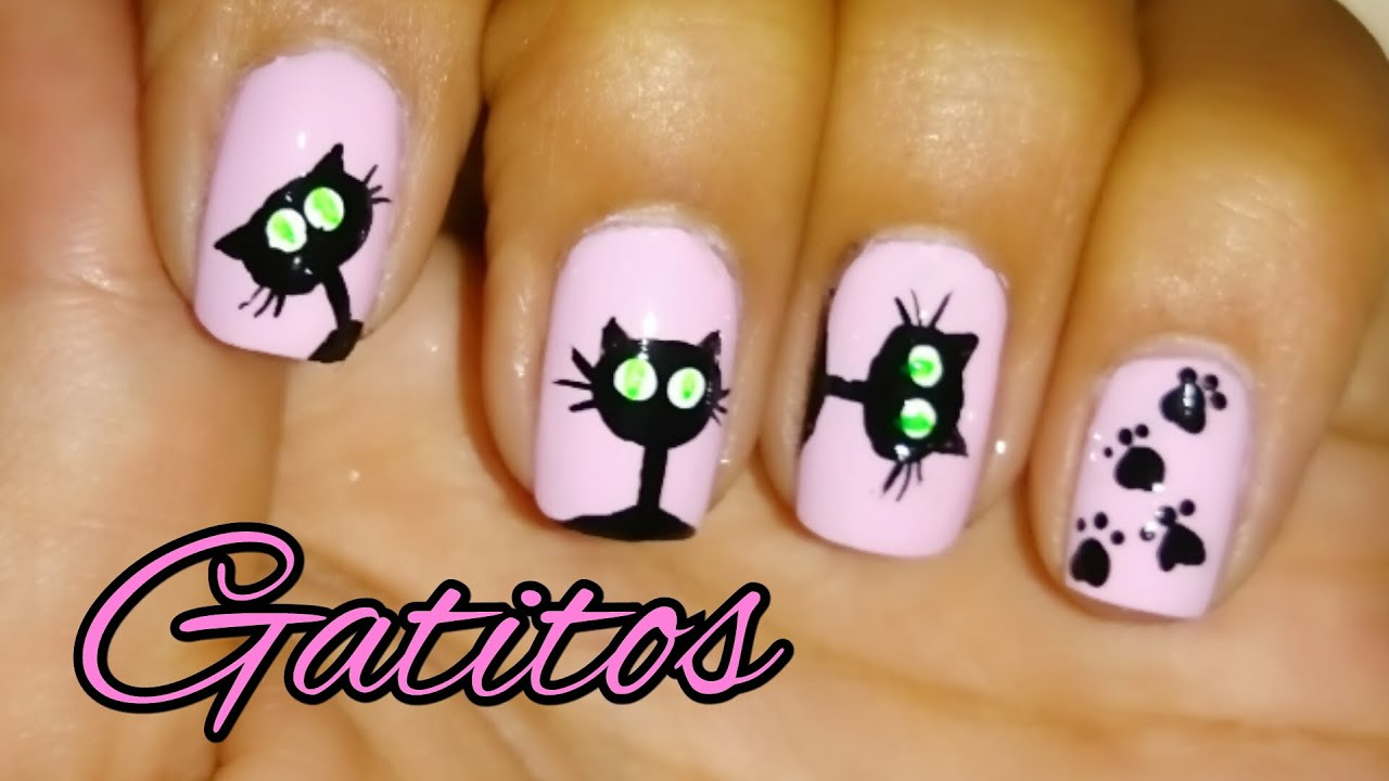 Decoracion de u as cortas gatos cats nail art andy for Decoracion de unas halloween