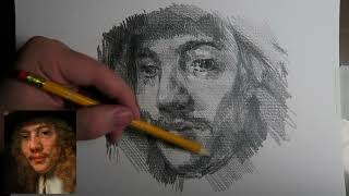 How to draw a face, shading and hatching - After Rembrandt