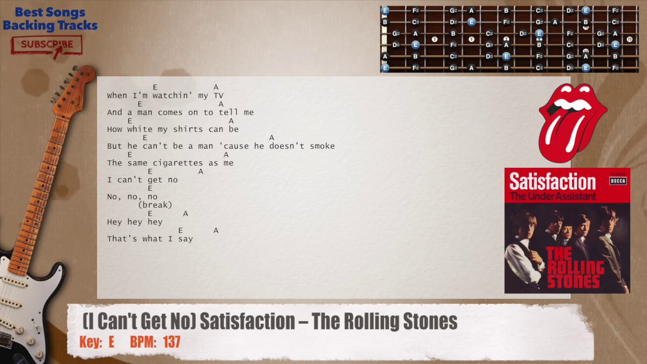 I cant get no satisfaction the rolling stones guitar backing i cant get no satisfaction the rolling stones guitar backing track with chords and lyrics hexwebz Choice Image