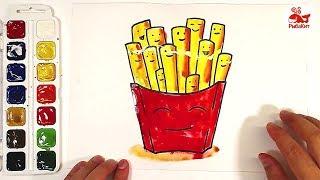 Картошка ФРИ Акварельные краски : урок рисования для детей