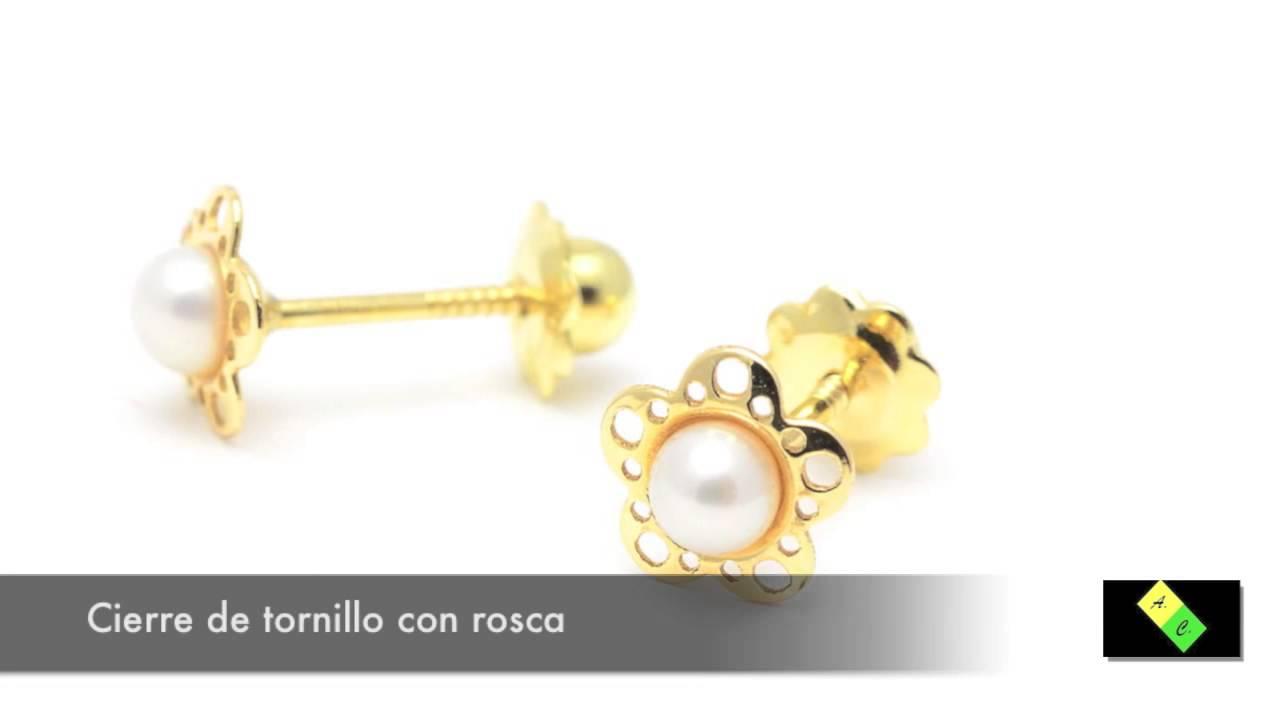 Pendientes Oro Bebé Flor Perla