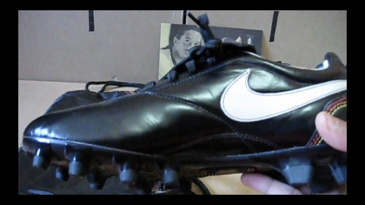 0133b0932b3 Nike Tiempo Ronaldinho Black FG Soccer Cleats R10 s - YouTube