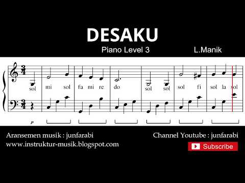 Notasi Balok Desaku - Tutorial Piano Level 3 - Not Lagu Anak Indonesia - Instrumen