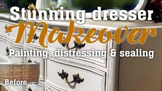 Stunning dresser makeover using chalk paint