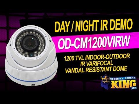 Day Night IR Demo - 1200 TVL Indoor-Outdoor IR Vandal Resistant Dome Camera - OD-CM1200VIRW