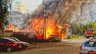 Пожар в городе Дрезна.