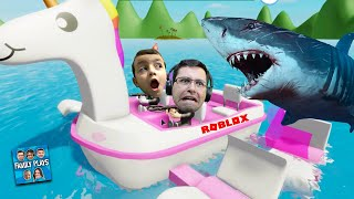 SHARK DESTROYED OUR UNICORN BOAT (Roblox Shark Bite) Family Plays