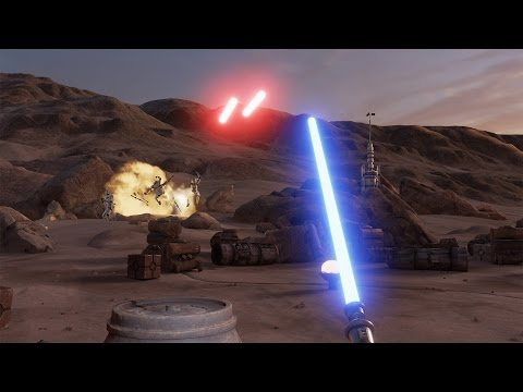Trials on Tatooine Gameplay (HTC Vive) Star Wars Lightsaber VR Demo