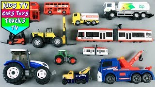 Learning Big And Small Vehicles For Kids | Tractor Tram London Bus Oil Tanker Forklift | Kids TV