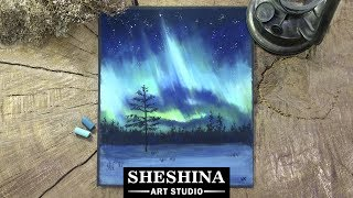 How to draw the Northern lights (Aurora borealis) with soft pastels 🎨 REAL TIME