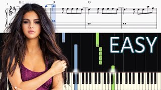 Selena Gomez & Marshmello - Wolves - EASY Piano Tutorial + SHEETS