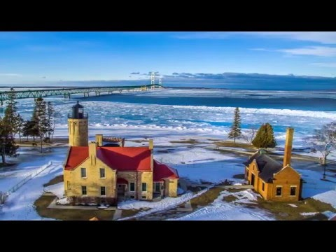 Flying Over The Icy Waters Of Mackinac Straits HD