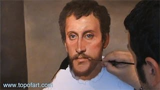Art Reproduction (Titian - The Man with Grey Eyes) Hand-Painted Step by Step