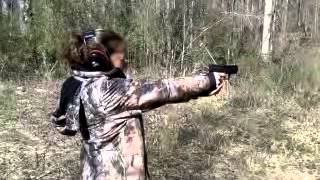 Lovely wife shooting Springfield Armory XD9 subcom