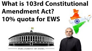 103rd Constitution Amendment Act, 10% quota for Economical Weaker Section, Current Affairs 2019
