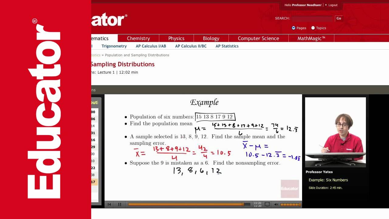 Statistics: Population and Sampling Distributions - YouTube