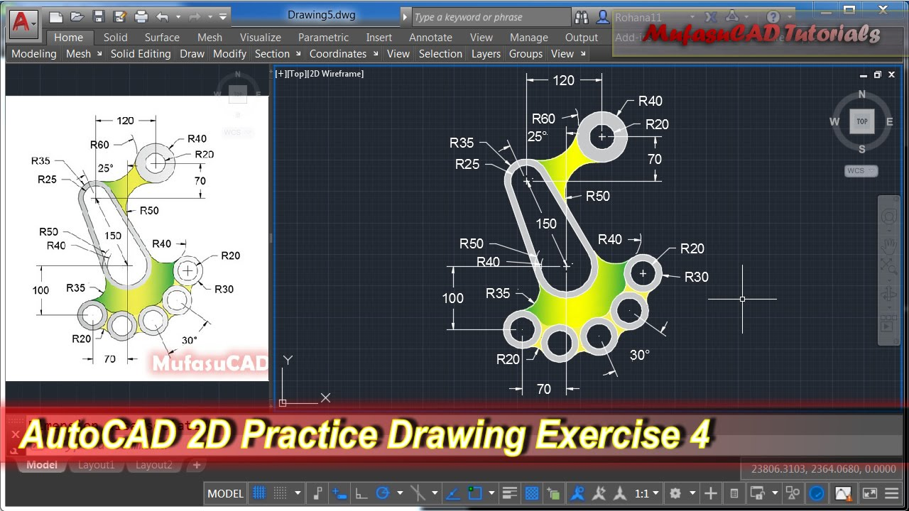Autocad 2d practice drawing exercise 4 basic tutorial for Barhocker 2d cad
