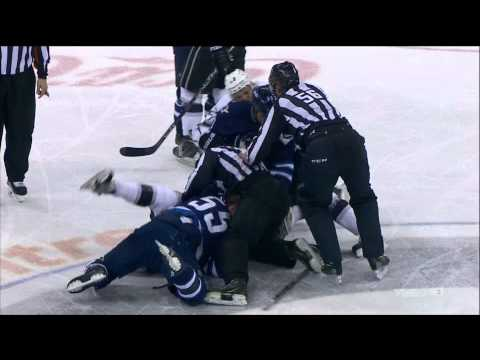 NHL #55 Winnipeg Jets Mark Scheifele huge body check on #55 LA Kings Lewis March 1 2015