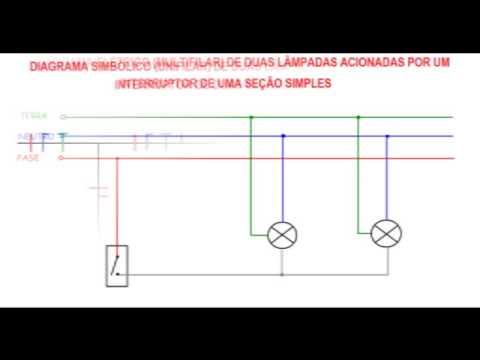 102. ELETRICIDADE - DIAGRAMAS DE INSTALAÇÃO DE INTERRUPTORES DE UMA SEÇÃO SIMPLES