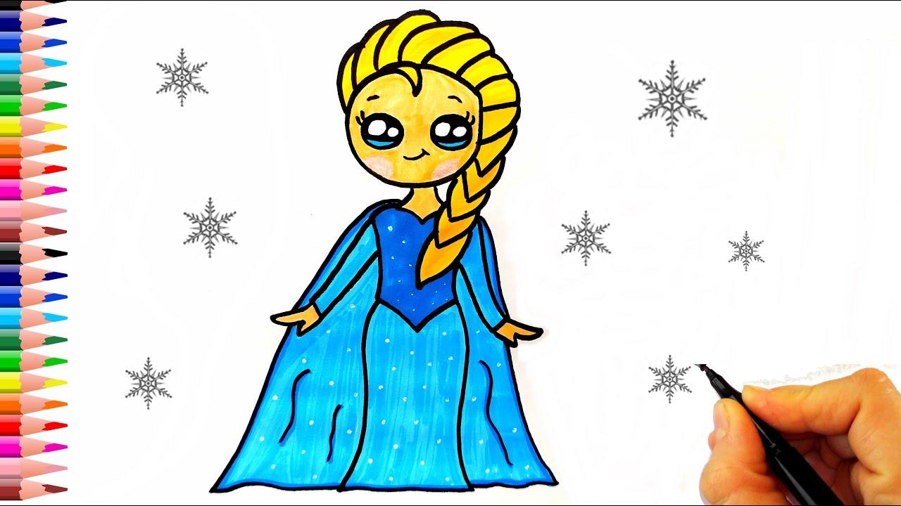 Elsa Nasıl Çizilir? -ÇOK KOLAY- How To Draw Elsa - Disney Frozen