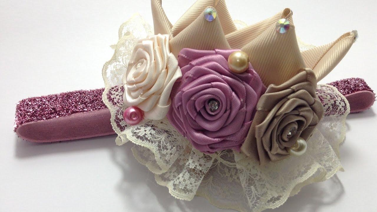 Corona de liston adornada con flores video no 411 youtube - Material para hacer diademas ...