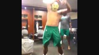 Celtics in the locker room after practice. 10-4-2010