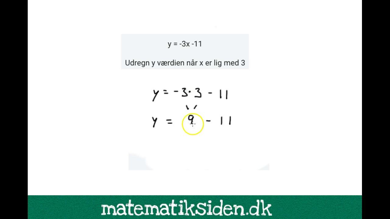 Funktioner 3 - Udregn x og y værdier