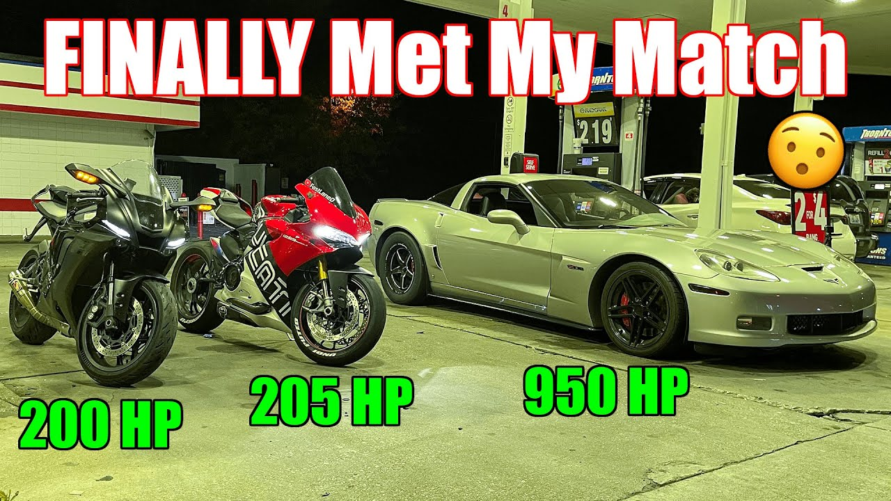 Download FINALLY A CAR THAT CAN KEEP UP! PROCHARGED Corvette Z06 vs 2021 Yamaha R1 & Ducati 1299 Panigale S
