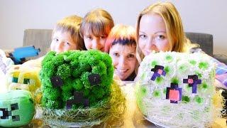 Майнкрафт Цветы. Адриан, Милада и Аня делают Крипера и Гаста для Маши