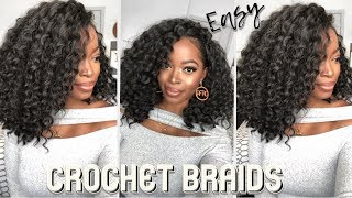 EASY Method to Install CROCHET BRAIDS   NO CORNROWS   NO HAIR OUT  NO BRAIDS ft Trendy Tresses