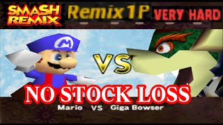 Smash Remix - Classic Mode Remix 1P Gameplay With Mario (VERY HARD) No Stock Loss