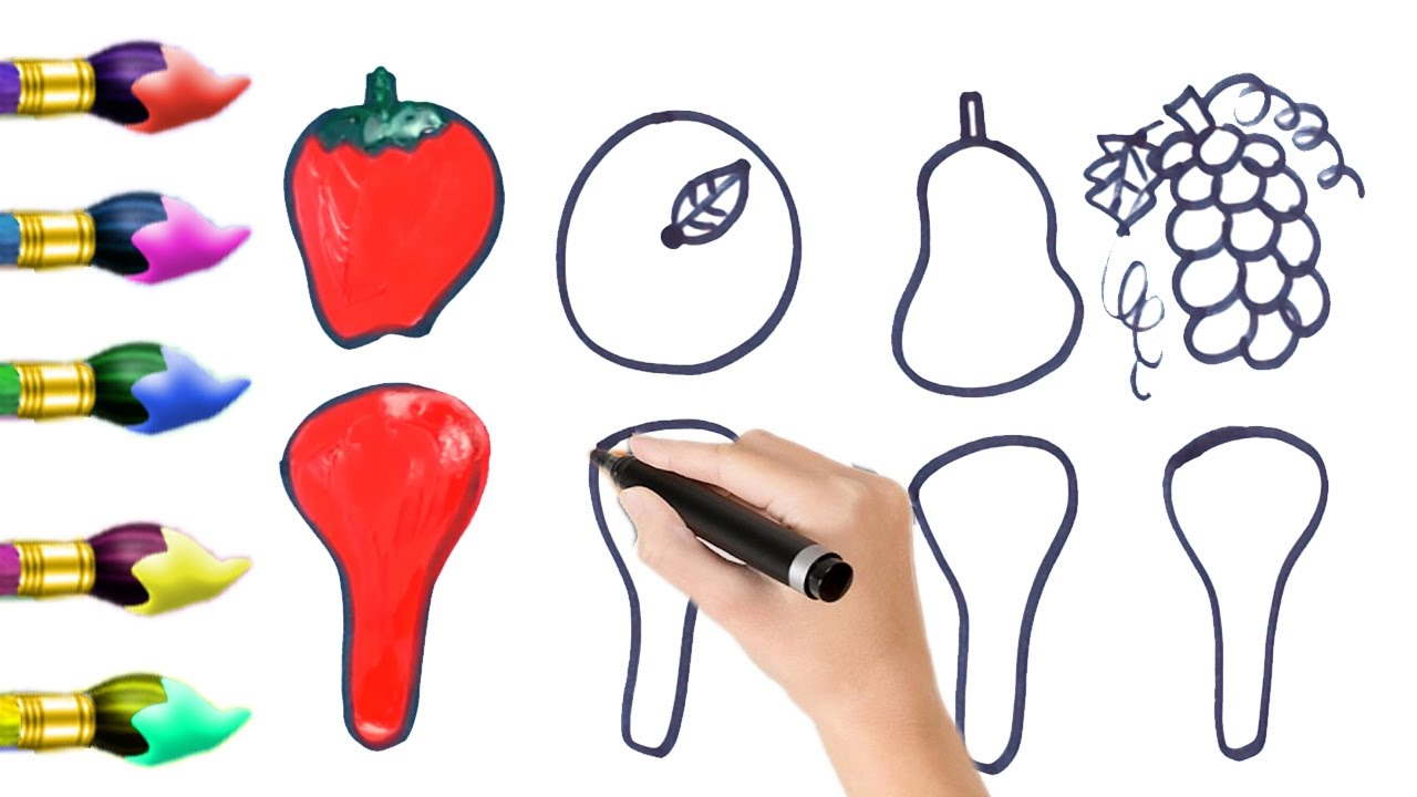 how to draw fruit and vegetables jelly spoon u0026 coloring pages for