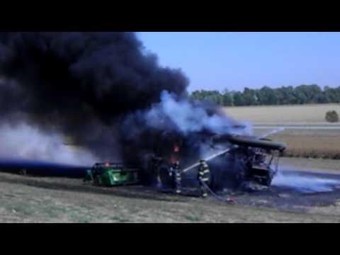John Deere Combine fire