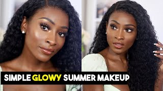 EASY EVERYDAY SUMMER GLOWY MAKEUP + HAIR