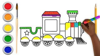 Glitter Train Coloring and Drawing for Kids , Toddlers , Aysha drawing for Kids