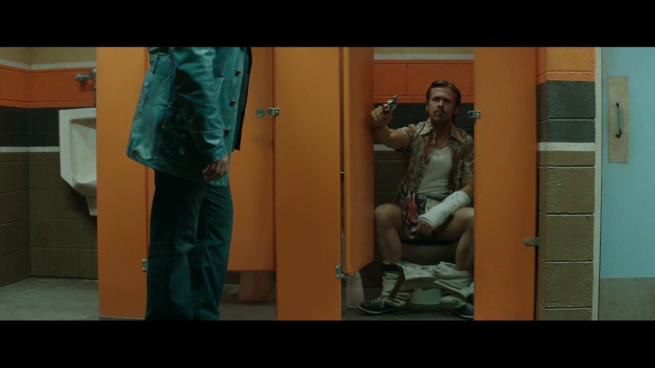 Bathroom Stall Encounters the nice guys - bathroom stall scene - ryan gosling, russel crowe