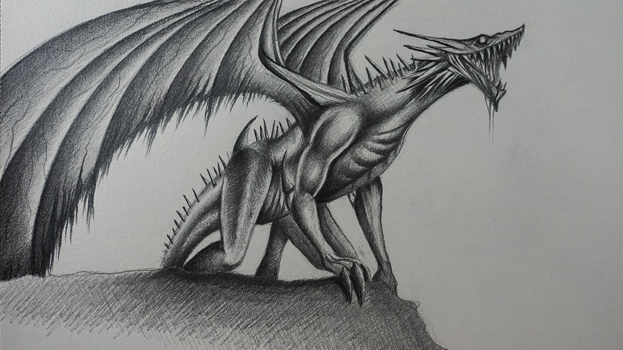 Dibujando Un Dragón Realista A Lápiz Youtube